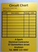 50 Personalised Distribution Board Circuit Chart Labels. BS7671.